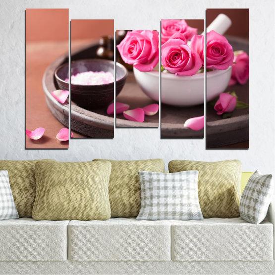 Декоративни панели и картини от канава - от 5 части №0564 » Розов, Кафяв, Черен, Сив, Тъмно сив » Цветя, Фън шуй, Роза, Спа Form #4
