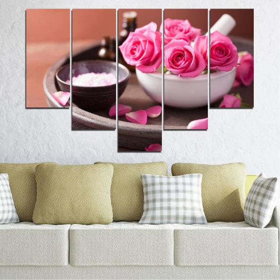 Декоративни панели и картини от канава - от 5 части №0564 » Розов, Кафяв, Черен, Сив, Тъмно сив » Цветя, Фън шуй, Роза, Спа Form #6