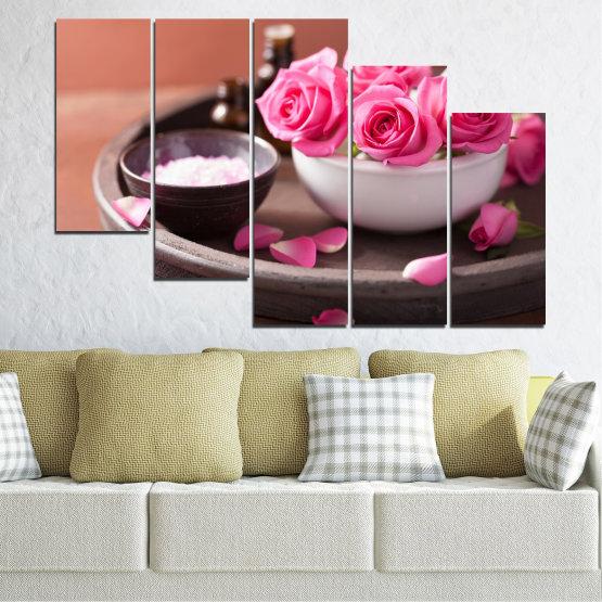 Декоративни панели и картини от канава - от 5 части №0564 » Розов, Кафяв, Черен, Сив, Тъмно сив » Цветя, Фън шуй, Роза, Спа Form #7