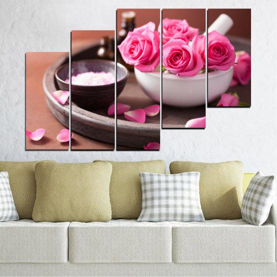 Декоративни панели и картини от канава - от 5 части №0564 » Розов, Кафяв, Черен, Сив, Тъмно сив » Цветя, Фън шуй, Роза, Спа Form #8