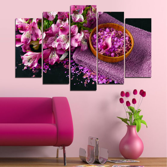 Canvas prints & wall decorative panels - 5 pieces №0565 » Purple, Black, Gray, Milky pink, Dark grey » Flowers, Feng shui, Spa Form #1