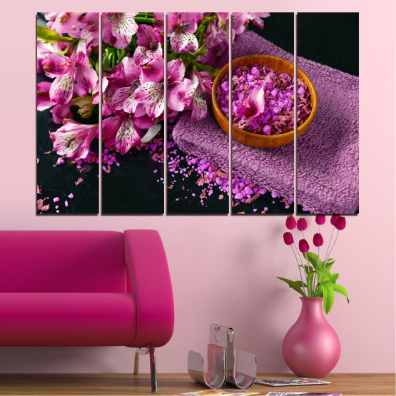 Canvas prints & wall decorative panels - 5 pieces №0565 » Purple, Black, Gray, Milky pink, Dark grey » Flowers, Feng shui, Spa Form #2