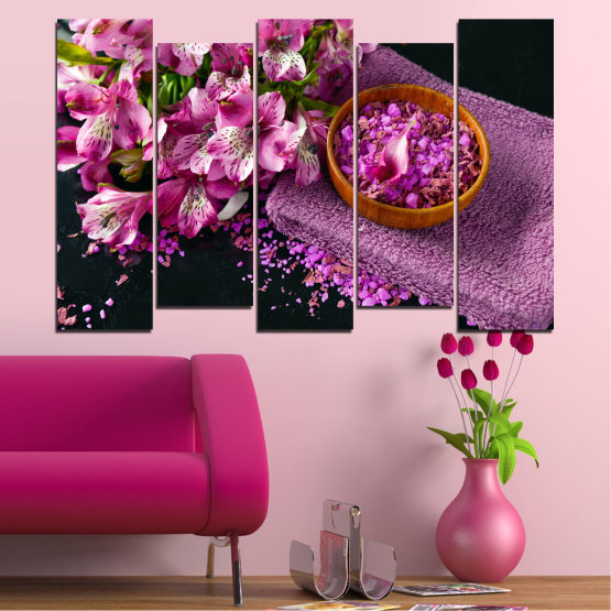 Canvas prints & wall decorative panels - 5 pieces №0565 » Purple, Black, Gray, Milky pink, Dark grey » Flowers, Feng shui, Spa Form #3