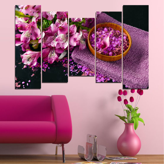 Canvas prints & wall decorative panels - 5 pieces №0565 » Purple, Black, Gray, Milky pink, Dark grey » Flowers, Feng shui, Spa Form #4