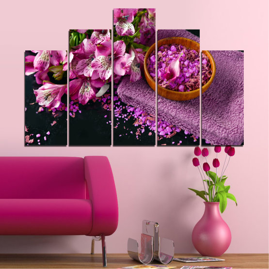 Canvas prints & wall decorative panels - 5 pieces №0565 » Purple, Black, Gray, Milky pink, Dark grey » Flowers, Feng shui, Spa Form #5