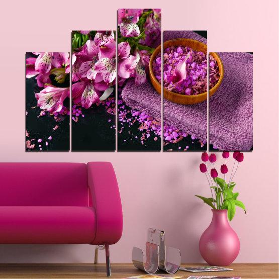 Декоративни панели и картини от канава - от 5 части №0565 » Лилав, Черен, Сив, Млечно розов, Тъмно сив » Цветя, Фън шуй, Спа Form #5