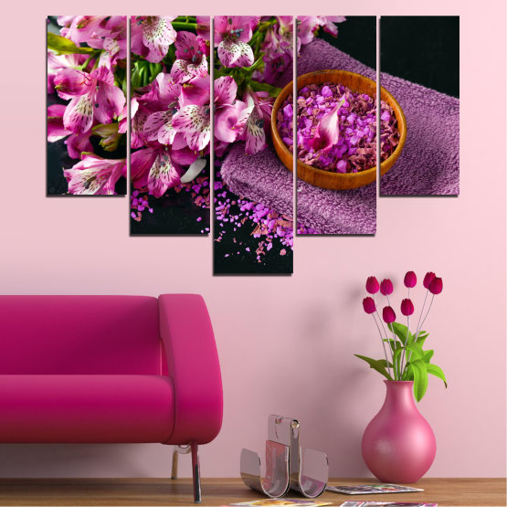 Canvas prints & wall decorative panels - 5 pieces №0565 » Purple, Black, Gray, Milky pink, Dark grey » Flowers, Feng shui, Spa Form #6