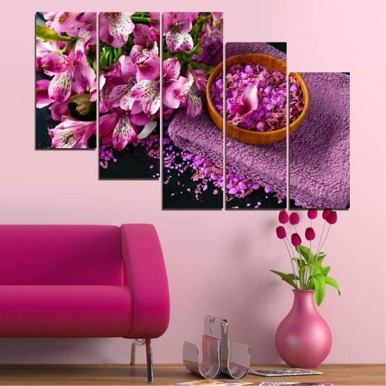 Canvas prints & wall decorative panels - 5 pieces №0565 » Purple, Black, Gray, Milky pink, Dark grey » Flowers, Feng shui, Spa Form #7