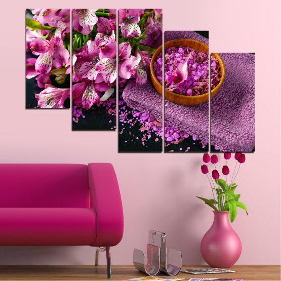Декоративни панели и картини от канава - от 5 части №0565 » Лилав, Черен, Сив, Млечно розов, Тъмно сив » Цветя, Фън шуй, Спа Form #7