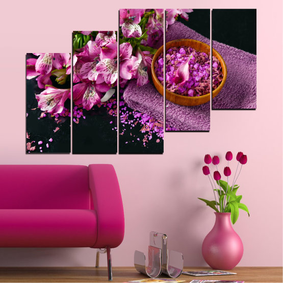 Canvas prints & wall decorative panels - 5 pieces №0565 » Purple, Black, Gray, Milky pink, Dark grey » Flowers, Feng shui, Spa Form #8
