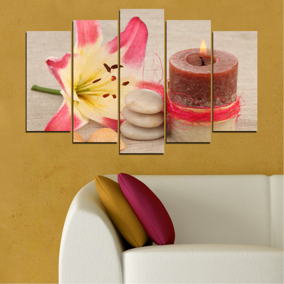 Canvas prints & wall decorative panels - 5 pieces №0566 » Pink, Brown, Gray, Beige » Feng shui, Lilies, Zen, Stones, Spa, Candle Form #1
