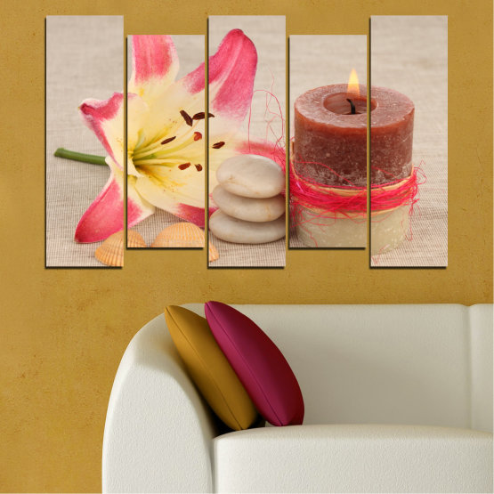 Canvas prints & wall decorative panels - 5 pieces №0566 » Pink, Brown, Gray, Beige » Feng shui, Lilies, Zen, Stones, Spa, Candle Form #3