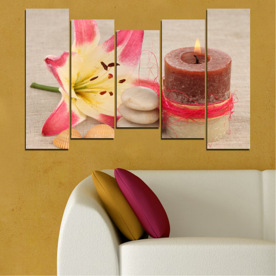 Canvas prints & wall decorative panels - 5 pieces №0566 » Pink, Brown, Gray, Beige » Feng shui, Lilies, Zen, Stones, Spa, Candle Form #4
