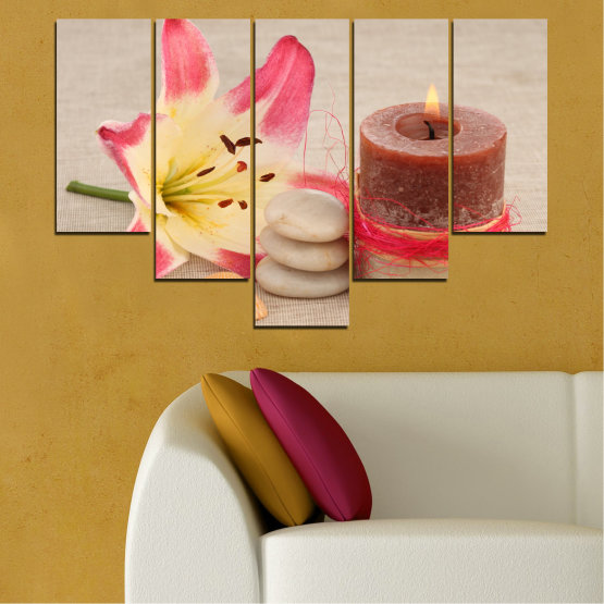 Canvas prints & wall decorative panels - 5 pieces №0566 » Pink, Brown, Gray, Beige » Feng shui, Lilies, Zen, Stones, Spa, Candle Form #6