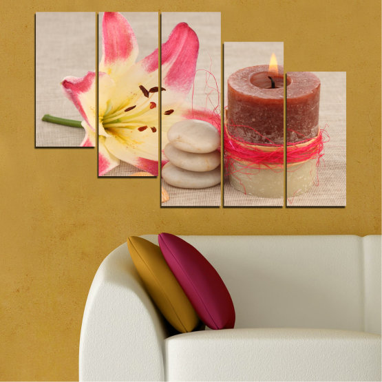 Canvas prints & wall decorative panels - 5 pieces №0566 » Pink, Brown, Gray, Beige » Feng shui, Lilies, Zen, Stones, Spa, Candle Form #7
