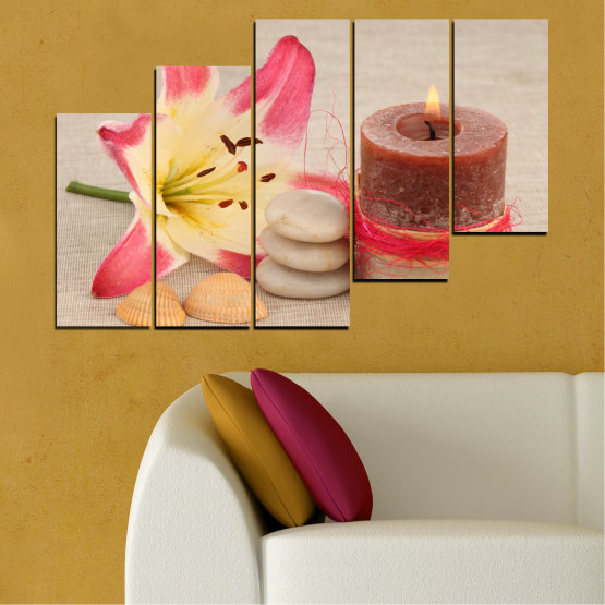 Canvas prints & wall decorative panels - 5 pieces №0566 » Pink, Brown, Gray, Beige » Feng shui, Lilies, Zen, Stones, Spa, Candle Form #8