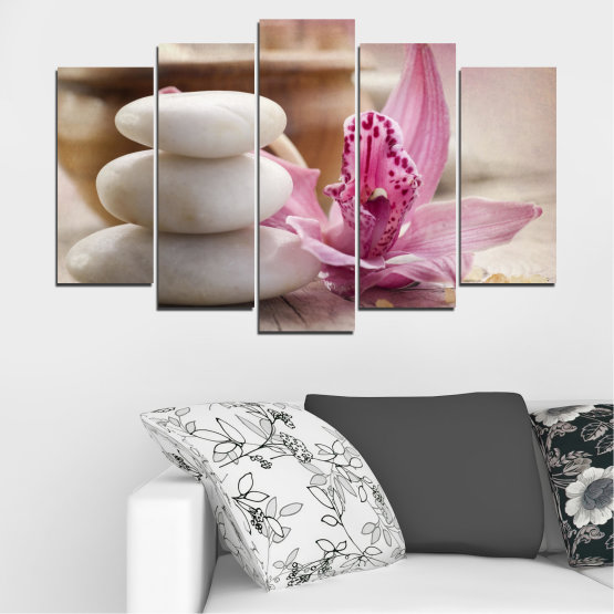 Canvas prints & wall decorative panels - 5 pieces №0567 » Brown, Gray, Beige, Dark grey » Orchid, Flowers, Feng shui, Stones, Zen, Spa Form #1