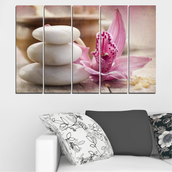 Canvas prints & wall decorative panels - 5 pieces №0567 » Brown, Gray, Beige, Dark grey » Orchid, Flowers, Feng shui, Stones, Zen, Spa Form #2