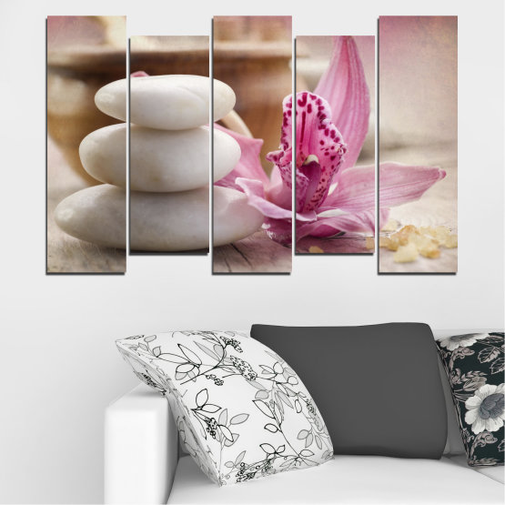 Canvas prints & wall decorative panels - 5 pieces №0567 » Brown, Gray, Beige, Dark grey » Orchid, Flowers, Feng shui, Stones, Zen, Spa Form #3