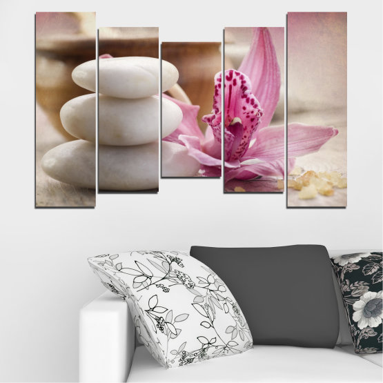 Canvas prints & wall decorative panels - 5 pieces №0567 » Brown, Gray, Beige, Dark grey » Orchid, Flowers, Feng shui, Stones, Zen, Spa Form #4