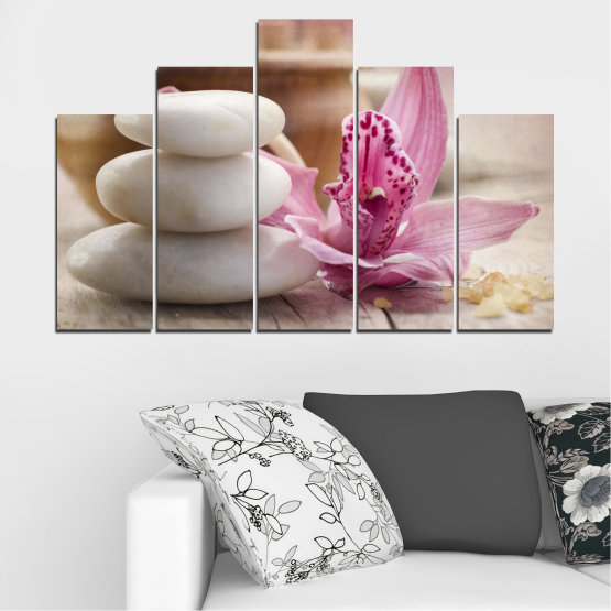 Canvas prints & wall decorative panels - 5 pieces №0567 » Brown, Gray, Beige, Dark grey » Orchid, Flowers, Feng shui, Stones, Zen, Spa Form #5