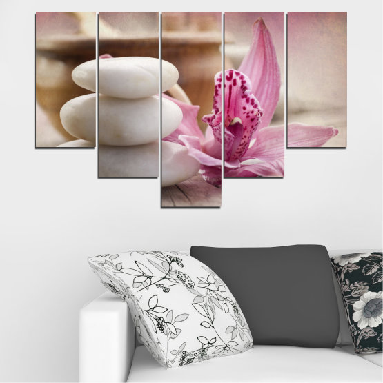 Canvas prints & wall decorative panels - 5 pieces №0567 » Brown, Gray, Beige, Dark grey » Orchid, Flowers, Feng shui, Stones, Zen, Spa Form #6