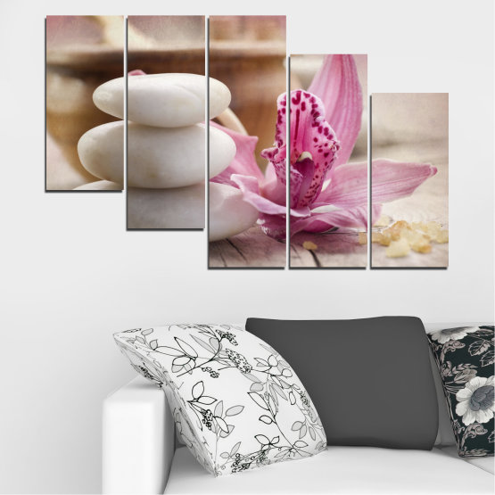 Canvas prints & wall decorative panels - 5 pieces №0567 » Brown, Gray, Beige, Dark grey » Orchid, Flowers, Feng shui, Stones, Zen, Spa Form #7