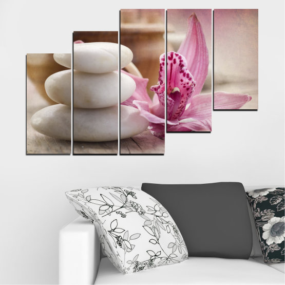 Canvas prints & wall decorative panels - 5 pieces №0567 » Brown, Gray, Beige, Dark grey » Orchid, Flowers, Feng shui, Stones, Zen, Spa Form #8