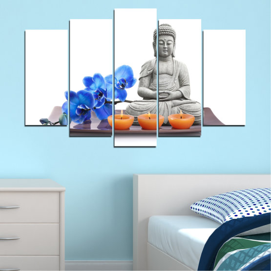Canvas prints & wall decorative panels - 5 pieces №0568 » Blue, Gray, White, Dark grey » Orchid, Feng shui, Spa, Candle, Buddha Form #1