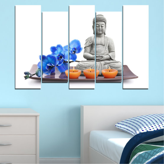Canvas prints & wall decorative panels - 5 pieces №0568 » Blue, Gray, White, Dark grey » Orchid, Feng shui, Spa, Candle, Buddha Form #3
