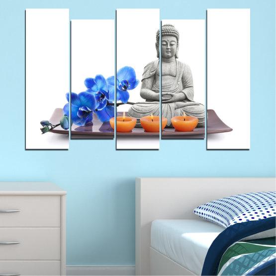 Декоративни панели и картини от канава - от 5 части №0568 » Син, Сив, Бял, Тъмно сив » Орхидея, Фън шуй, Спа, Свещ, Буда Form #3
