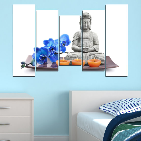 Canvas prints & wall decorative panels - 5 pieces №0568 » Blue, Gray, White, Dark grey » Feng shui, Orchid, Spa, Candle, Buddha Form #4
