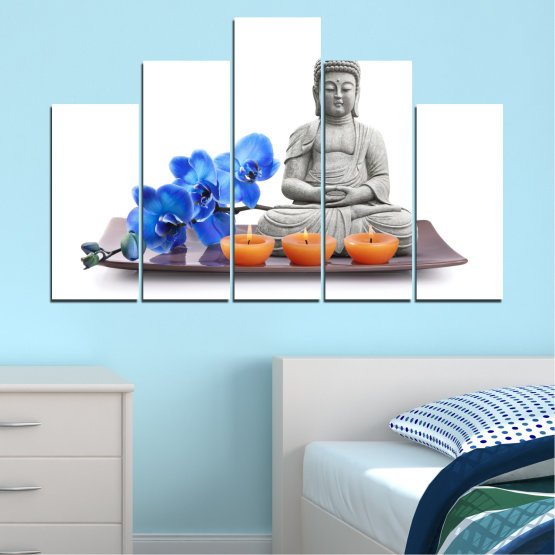 Canvas prints & wall decorative panels - 5 pieces №0568 » Blue, Gray, White, Dark grey » Feng shui, Orchid, Spa, Candle, Buddha Form #5