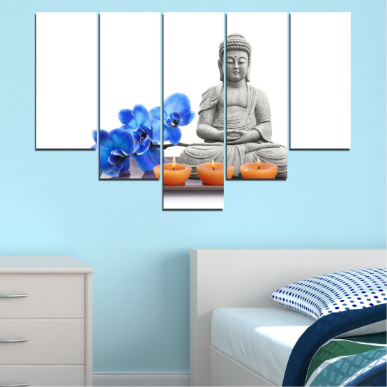 Canvas prints & wall decorative panels - 5 pieces №0568 » Blue, Gray, White, Dark grey » Feng shui, Orchid, Spa, Candle, Buddha Form #6