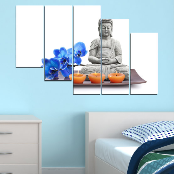 Canvas prints & wall decorative panels - 5 pieces №0568 » Blue, Gray, White, Dark grey » Feng shui, Orchid, Spa, Candle, Buddha Form #7