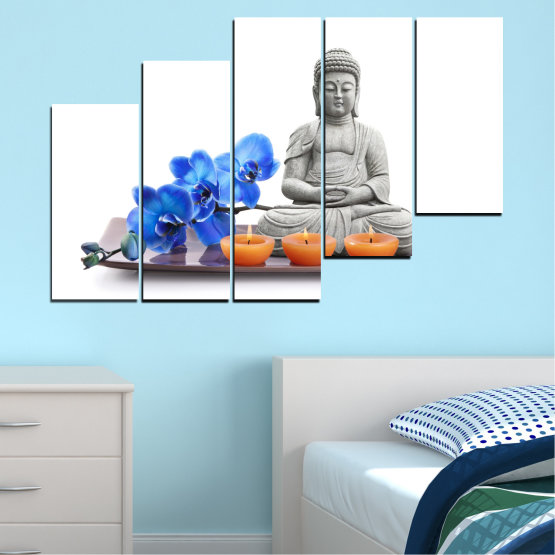 Canvas prints & wall decorative panels - 5 pieces №0568 » Blue, Gray, White, Dark grey » Feng shui, Orchid, Spa, Candle, Buddha Form #8