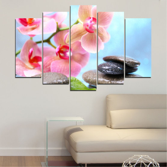 Canvas prints & wall decorative panels - 5 pieces №0569 » Gray, White, Milky pink » Flowers, Orchid, Feng shui, Water, Stones, Zen, Spa Form #1