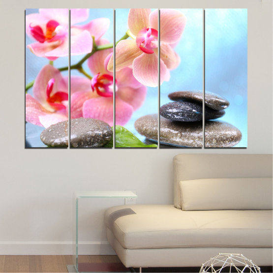 Canvas prints & wall decorative panels - 5 pieces №0569 » Gray, White, Milky pink » Flowers, Orchid, Feng shui, Water, Stones, Zen, Spa Form #2