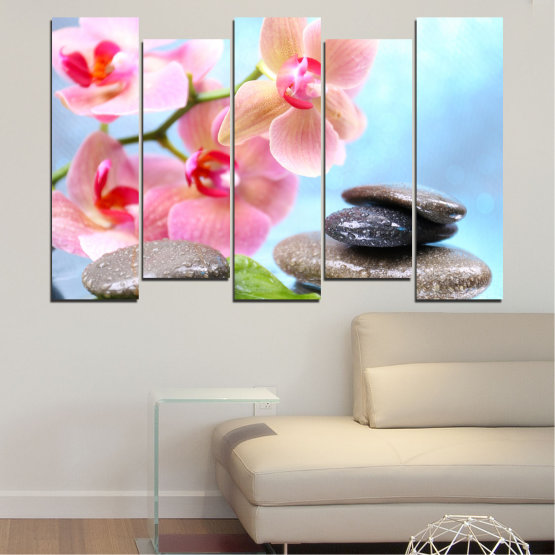 Canvas prints & wall decorative panels - 5 pieces №0569 » Gray, White, Milky pink » Flowers, Orchid, Feng shui, Water, Stones, Zen, Spa Form #3