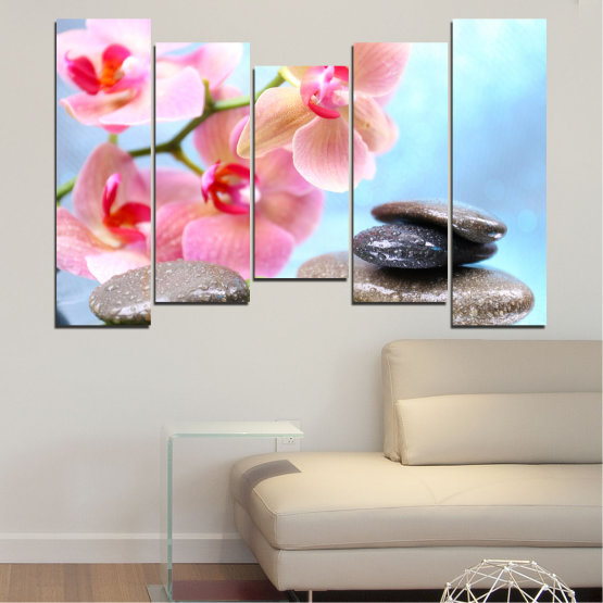 Canvas prints & wall decorative panels - 5 pieces №0569 » Gray, White, Milky pink » Flowers, Orchid, Feng shui, Water, Stones, Zen, Spa Form #4