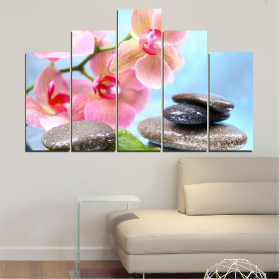 Canvas prints & wall decorative panels - 5 pieces №0569 » Gray, White, Milky pink » Flowers, Orchid, Feng shui, Water, Stones, Zen, Spa Form #5
