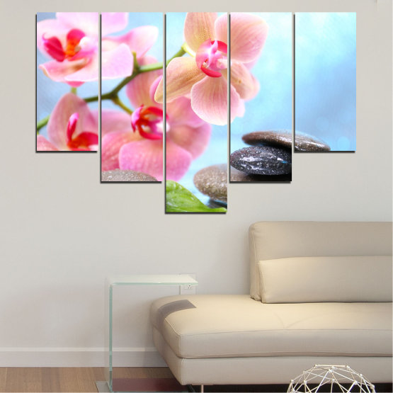 Canvas prints & wall decorative panels - 5 pieces №0569 » Gray, White, Milky pink » Flowers, Orchid, Feng shui, Water, Stones, Zen, Spa Form #6