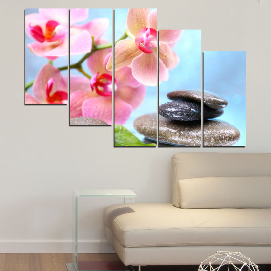 Canvas prints & wall decorative panels - 5 pieces №0569 » Gray, White, Milky pink » Flowers, Orchid, Feng shui, Water, Stones, Zen, Spa Form #7