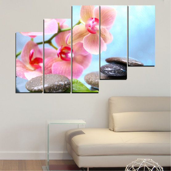 Canvas prints & wall decorative panels - 5 pieces №0569 » Gray, White, Milky pink » Flowers, Orchid, Feng shui, Water, Stones, Zen, Spa Form #8