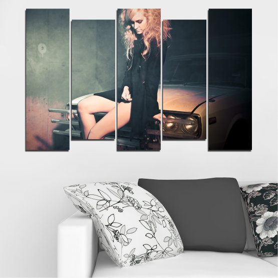 Canvas prints & wall decorative panels - 5 pieces №0057 » Brown, Black, Gray, Beige, Dark grey » Woman, Fashion, Car Form #3