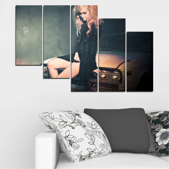 Canvas prints & wall decorative panels - 5 pieces №0057 » Brown, Black, Gray, Beige, Dark grey » Woman, Fashion, Car Form #7
