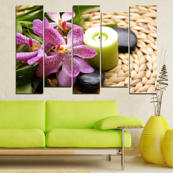 Canvas prints & wall decorative panels - 5 pieces №0570 » Brown, Black, Gray, White, Beige » Flowers, Feng shui, Orchid, Zen, Stones, Spa, Candle Form #3