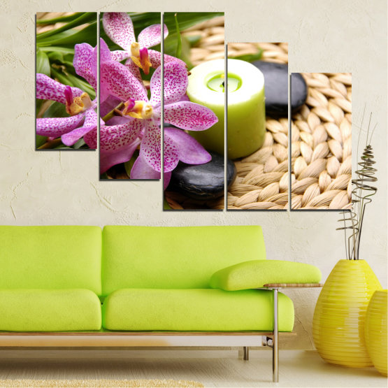 Canvas prints & wall decorative panels - 5 pieces №0570 » Brown, Black, Gray, White, Beige » Flowers, Feng shui, Orchid, Zen, Stones, Spa, Candle Form #7