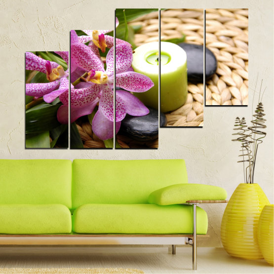 Canvas prints & wall decorative panels - 5 pieces №0570 » Brown, Black, Gray, White, Beige » Flowers, Feng shui, Orchid, Zen, Stones, Spa, Candle Form #8