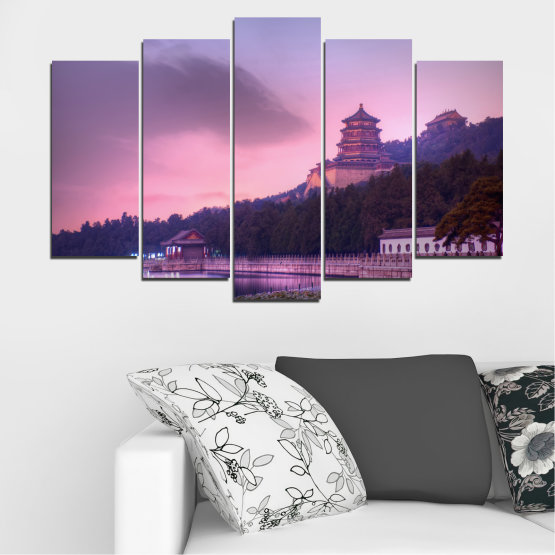 Canvas prints & wall decorative panels - 5 pieces №0571 » Purple, Gray, Milky pink, Dark grey » Water, Landscape, Thailand, Buddha, Temple Form #1